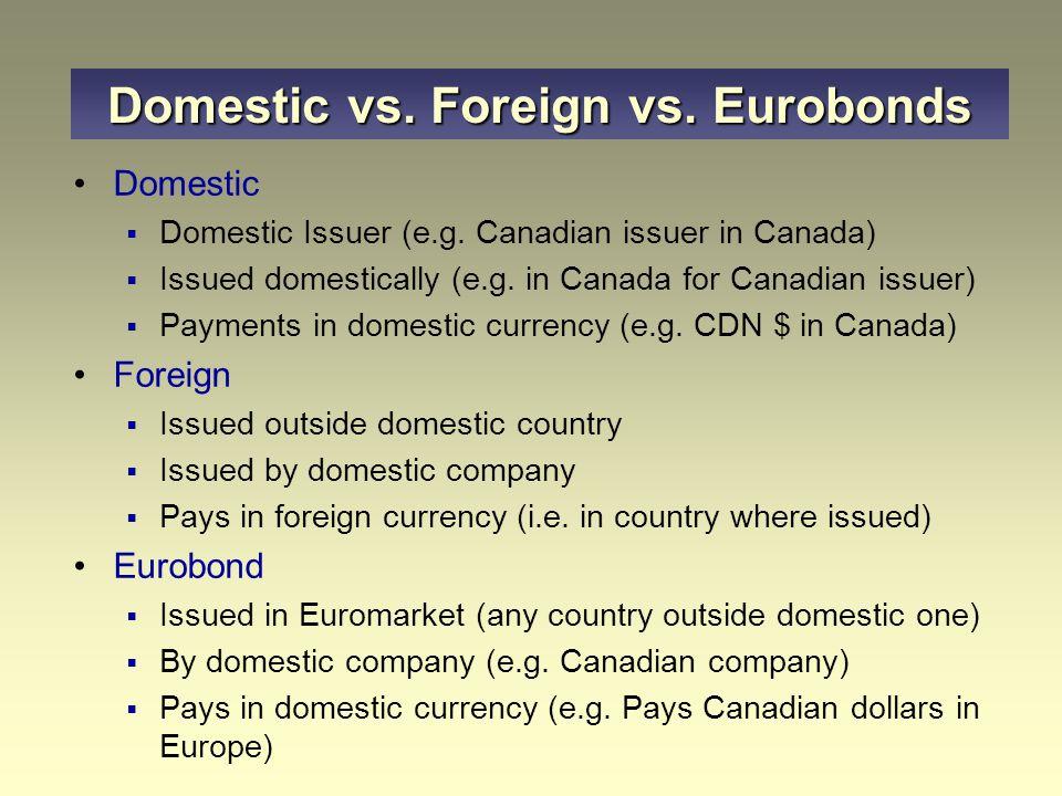 Domestic vs. Foreign vs. Eurobonds Domestic  Domestic Issuer (e.g.