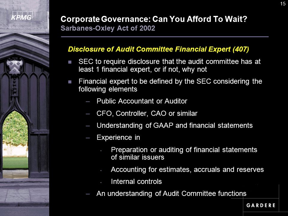A U D I T C O M M I TT E E I N S T I T U T E 15 Corporate Governance: Can You Afford To Wait.