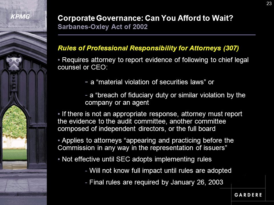 A U D I T C O M M I TT E E I N S T I T U T E 23 Corporate Governance: Can You Afford to Wait.