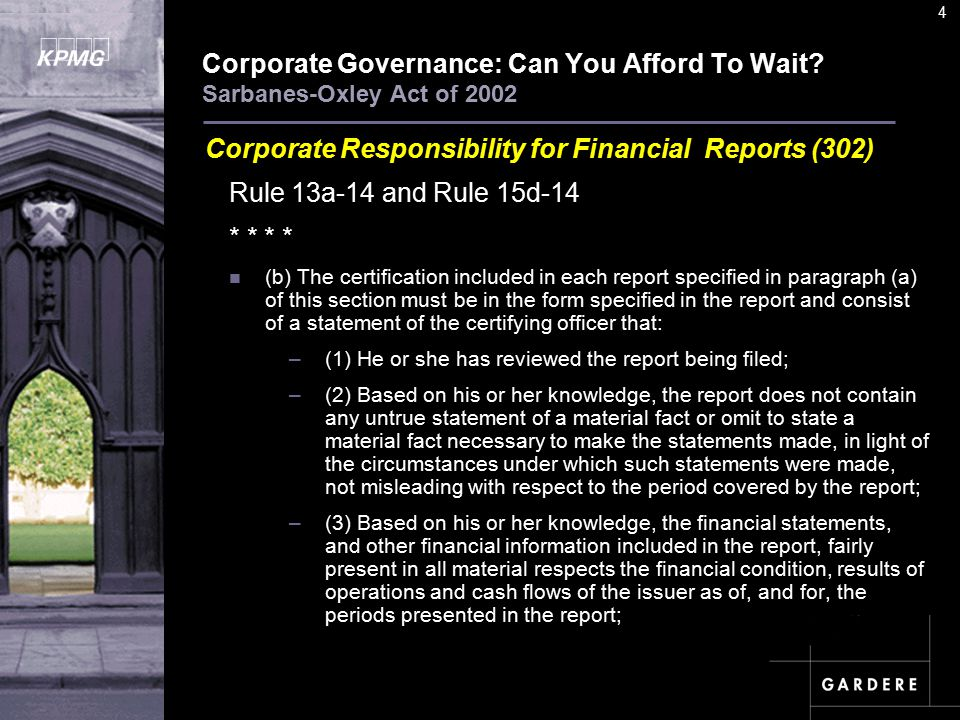 A U D I T C O M M I TT E E I N S T I T U T E 4 Corporate Governance: Can You Afford To Wait.