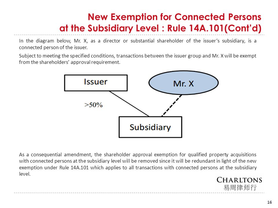 New Exemption for Connected Persons at the Subsidiary Level : Rule 14A.101(Cont'd) 16 In the diagram below, Mr. X, as a director or substantial shareh