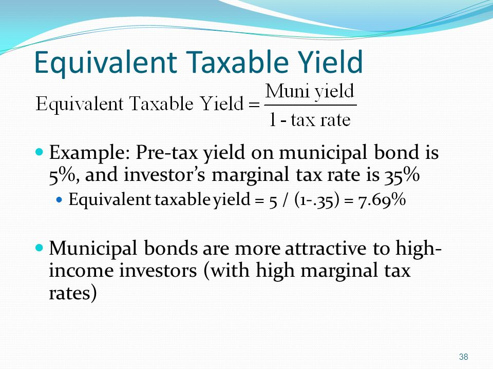 38 Example: Pre-tax yield on municipal bond is 5%, and investor's marginal tax rate is 35% Equivalent taxable yield = 5 / (1-.35) = 7.69% Municipal bonds are more attractive to high- income investors (with high marginal tax rates) Equivalent Taxable Yield