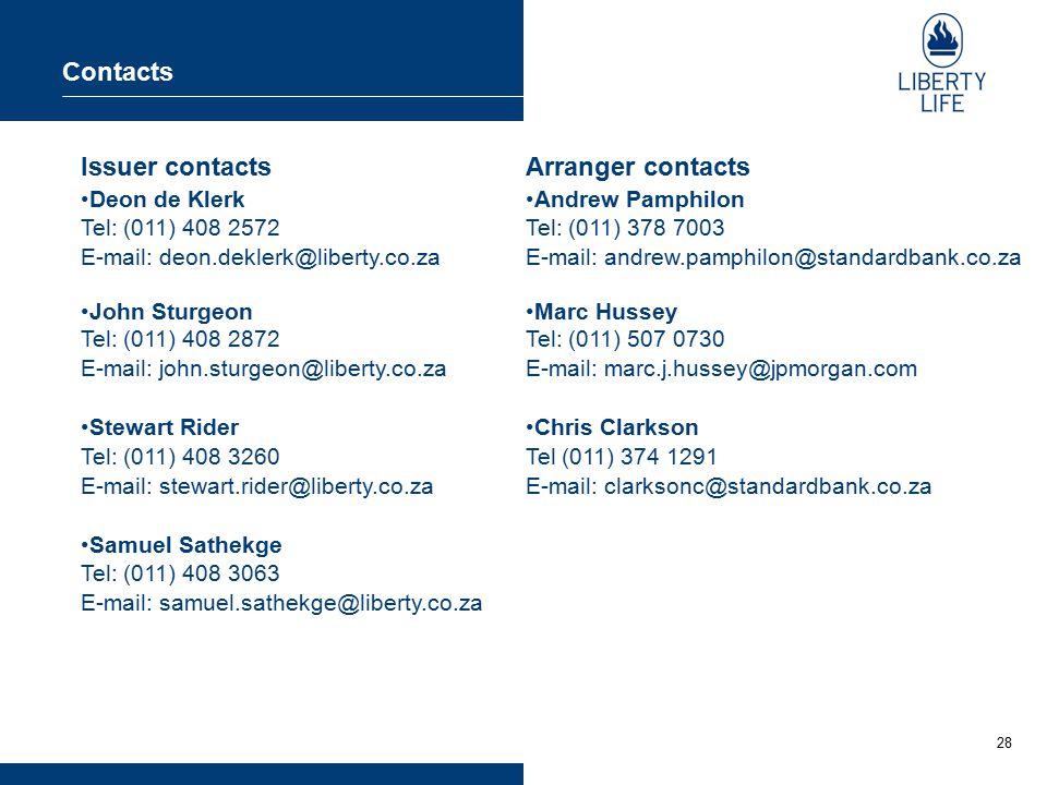 28 Contacts Issuer contacts Deon de Klerk Tel: (011) 408 2572 E-mail: deon.deklerk@liberty.co.za John Sturgeon Tel: (011) 408 2872 E-mail: john.sturge