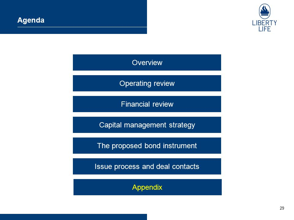 29 Agenda Overview Operating review Financial review Capital management strategy The proposed bond instrument Issue process and deal contacts Appendix