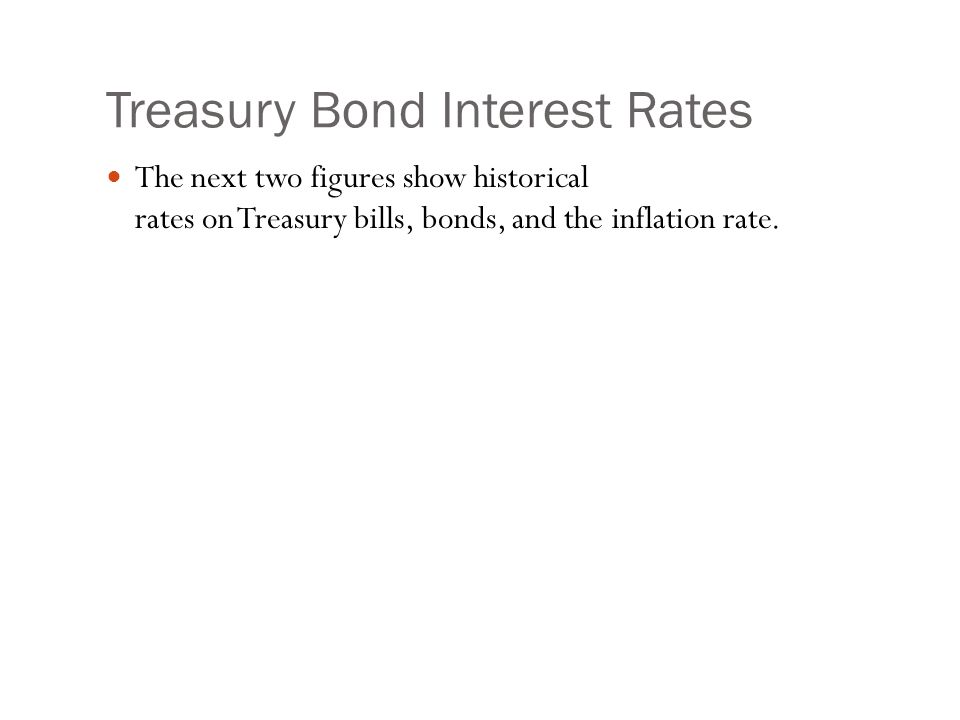 Treasury Bond Interest Rates The next two figures show historical rates on Treasury bills, bonds, and the inflation rate.