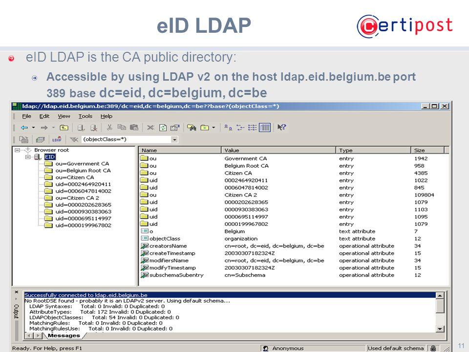11 eID LDAP eID LDAP is the CA public directory: Accessible by using LDAP v2 on the host ldap.eid.belgium.be port 389 base dc=eid, dc=belgium, dc=be