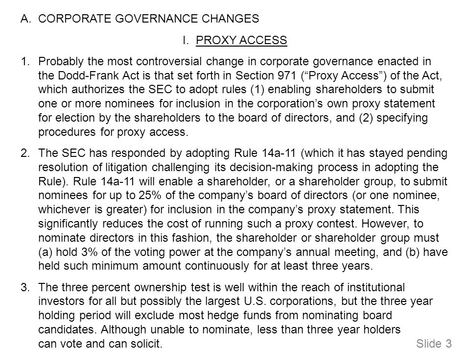 A.CORPORATE GOVERNANCE CHANGES I.