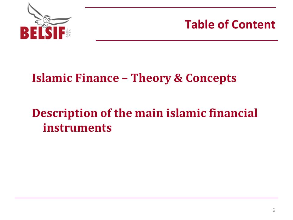 Table of Content Islamic Finance – Theory & Concepts Description of the main islamic financial instruments 2