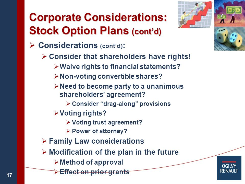 17 Corporate Considerations: Stock Option Plans (cont'd)  Considerations (cont'd) :  Consider that shareholders have rights.