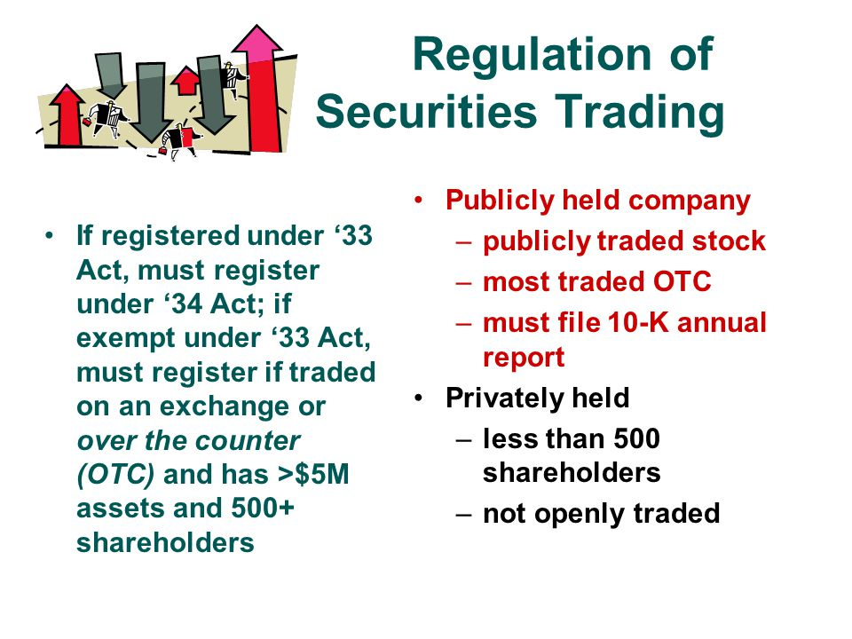 Regulation of Securities Trading If registered under '33 Act, must register under '34 Act; if exempt under '33 Act, must register if traded on an exchange or over the counter (OTC) and has >$5M assets and 500+ shareholders Publicly held company –publicly traded stock –most traded OTC –must file 10-K annual report Privately held –less than 500 shareholders –not openly traded