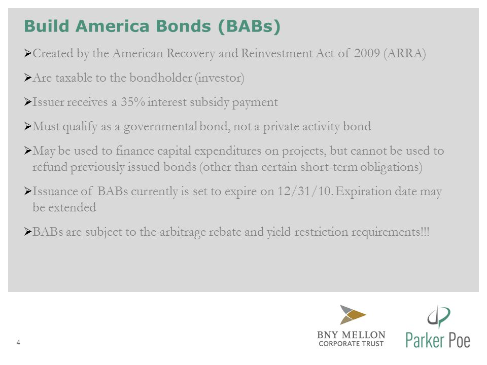 Recovery Zone Economic Development Bonds  Must meet all requirements of Build America Bonds (BABs)  Issuer receives a 45% interest subsidy  Must be used for qualified economic development purposes  Subject to volume cap limitations ($115 million was allocated to South Carolina local governments) – federal government originally allocated issuance authority to cities and counties throughout the State; State deemed unused authority waived, and has been reallocating 5