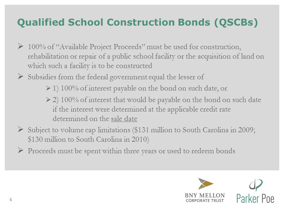 Qualified Zone Academy Bonds (QZABs)  100% of Available Project Proceeds must be used to rehabilitate or repair a public school facility, provide equipment or develop course materials and training teachers and other school personnel.