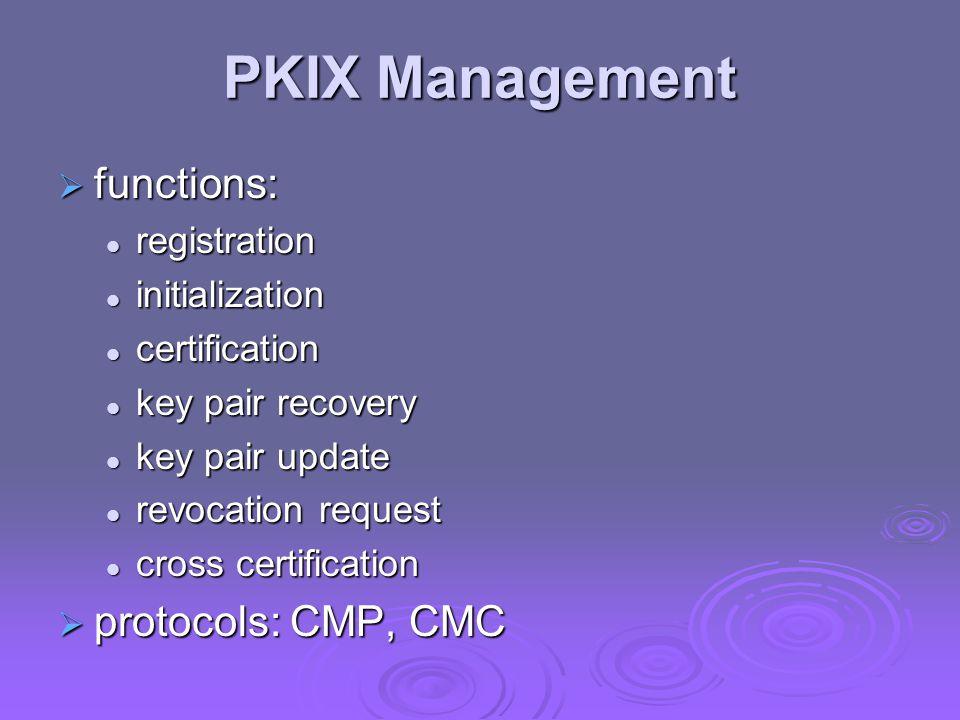 PKIX Management  functions: registration registration initialization initialization certification certification key pair recovery key pair recovery k