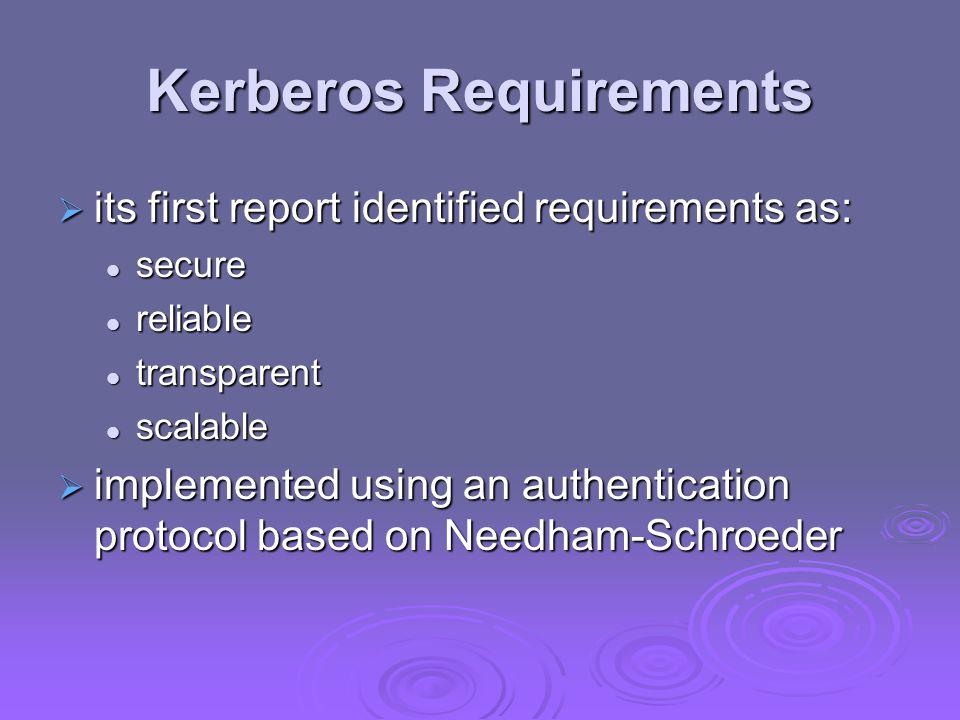 Kerberos Requirements  its first report identified requirements as: secure secure reliable reliable transparent transparent scalable scalable  imple