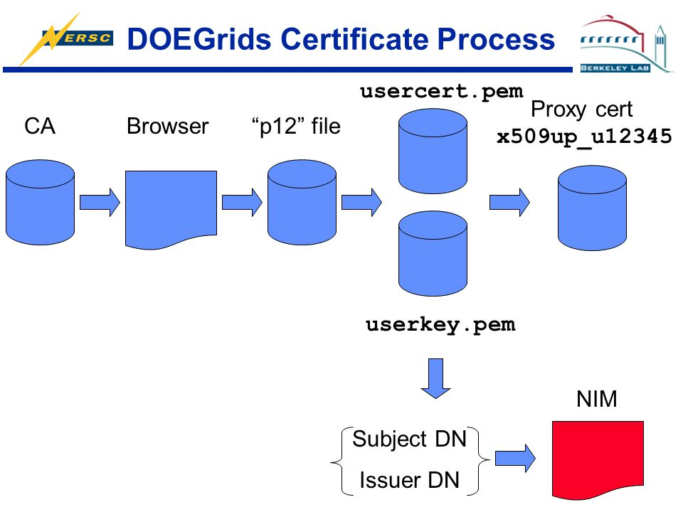 "DOEGrids Certificate Process CABrowser""p12"" file usercert.pem userkey.pem Proxy cert x509up_u12345 NIM Subject DN Issuer DN"