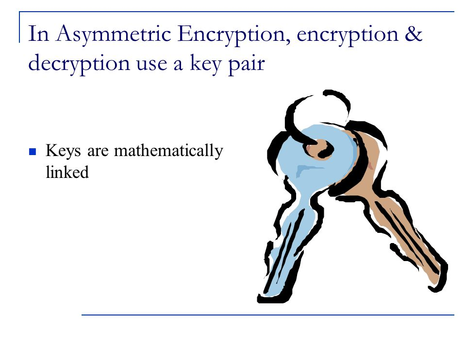 In Asymmetric Encryption, encryption & decryption use a key pair Keys are mathematically linked