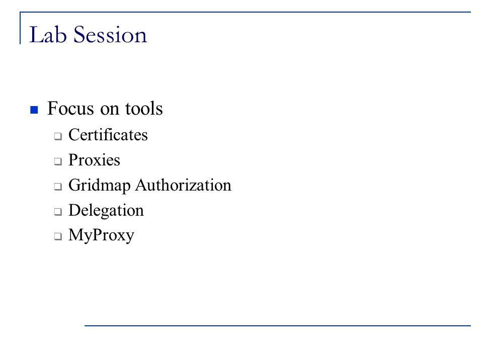 Lab Session Focus on tools  Certificates  Proxies  Gridmap Authorization  Delegation  MyProxy