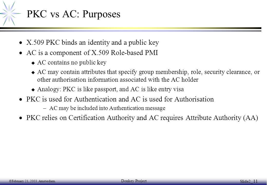 ©February 21, 2003. Amsterdam. Donkey Project Slide2 _11 PKC vs AC: Purposes  X.509 PKC binds an identity and a public key  AC is a component of X.5