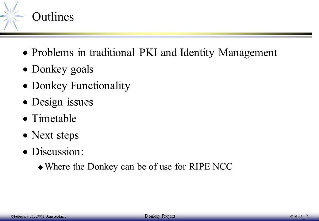 ©February 21, 2003. Amsterdam. Donkey Project Slide2 _2 Outlines  Problems in traditional PKI and Identity Management  Donkey goals  Donkey Functio