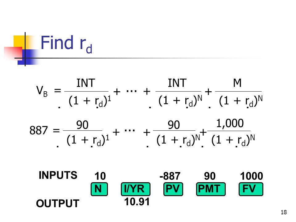 18 10 -887 90 1000 NI/YR PV PMTFV 10.91  V INTM B = (1 + r d ) 1 (1 + r d ) N...