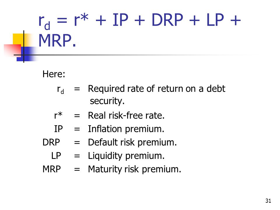 31 r d = r* + IP + DRP + LP + MRP. Here: r d =Required rate of return on a debt security.