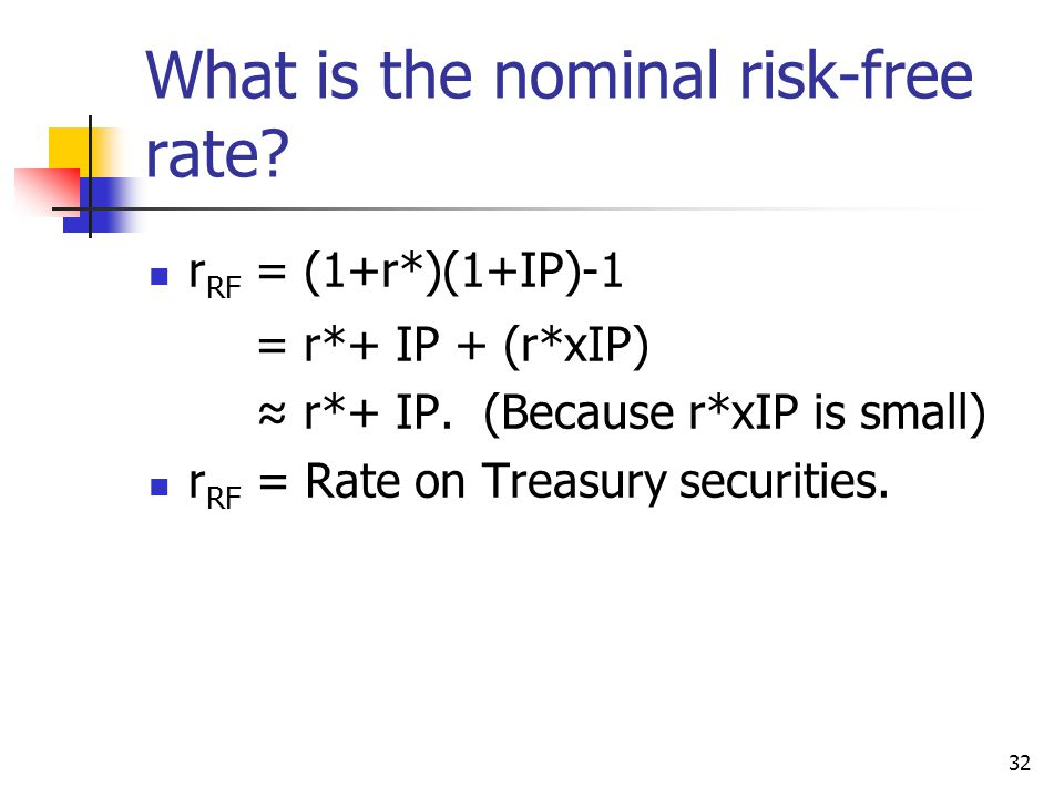32 What is the nominal risk-free rate. r RF = (1+r*)(1+IP)-1 = r*+ IP + (r*xIP) ≈ r*+ IP.