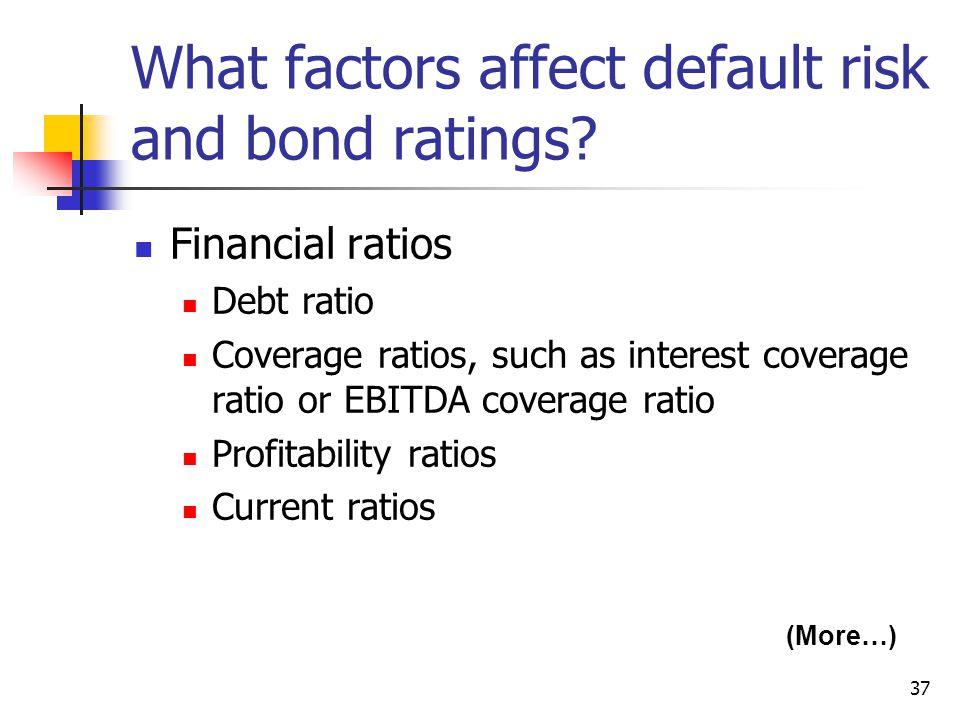 37 What factors affect default risk and bond ratings.