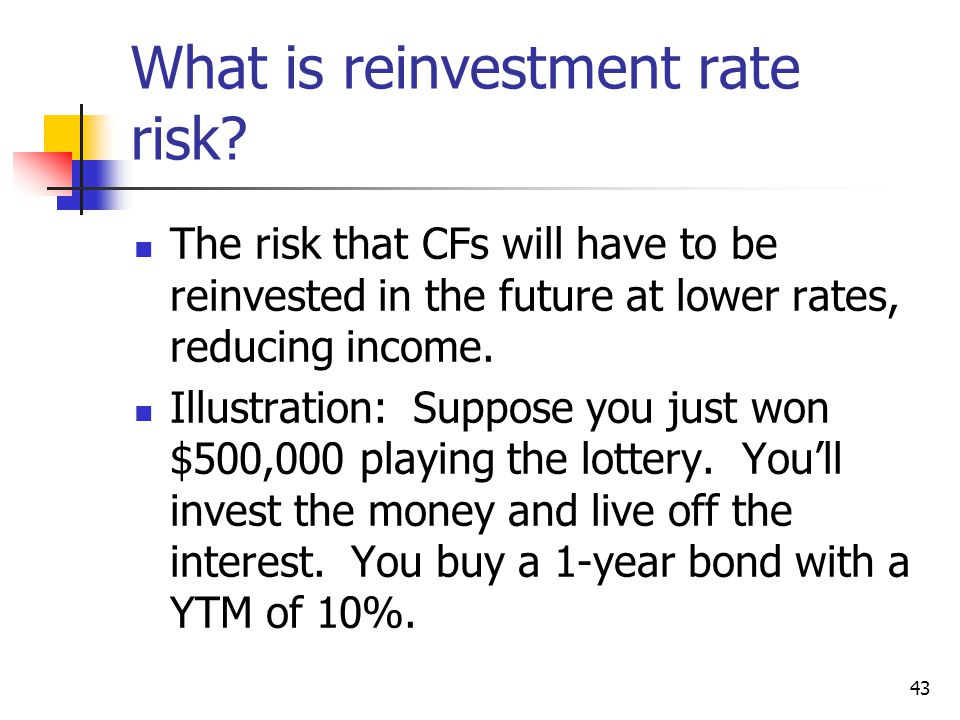 43 What is reinvestment rate risk.
