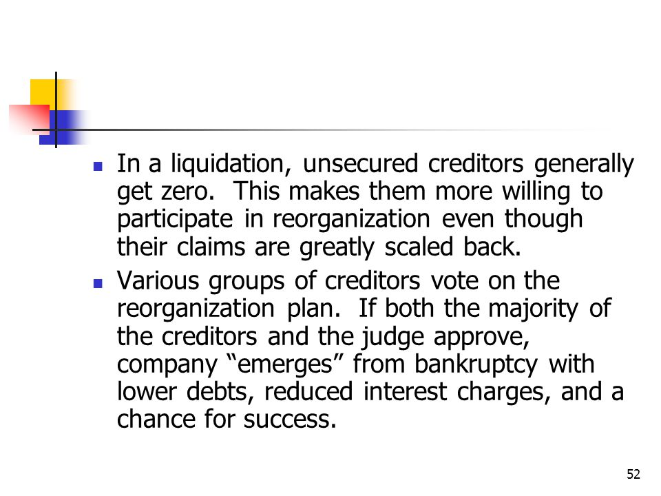 52 In a liquidation, unsecured creditors generally get zero.
