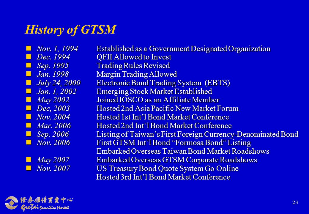 23 History of GTSM Nov. 1, 1994Established as a Government Designated Organization Nov.