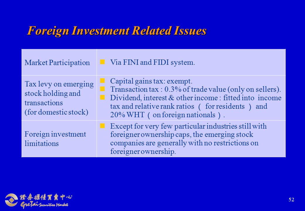 52 Foreign Investment Related Issues Market Participation Via FINI and FIDI system.
