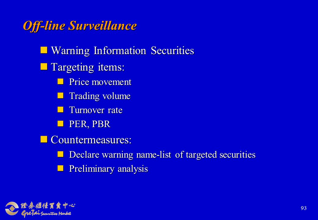 93 Warning Information Securities Warning Information Securities Targeting items: Targeting items: Price movement Price movement Trading volume Trading volume Turnover rate Turnover rate PER, PBR PER, PBR Countermeasures: Countermeasures: Declare warning name-list of targeted securities Declare warning name-list of targeted securities Preliminary analysis Preliminary analysis Off-line Surveillance