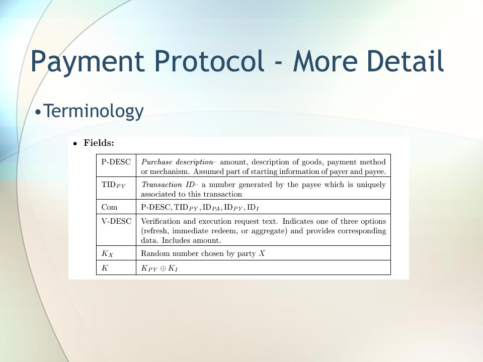 Payment Protocol - More Detail Terminology