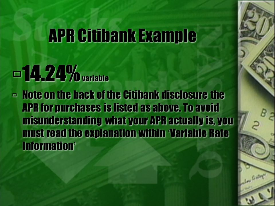 APR Variable - 'Warning'. The key word here is variable - - which means changing.