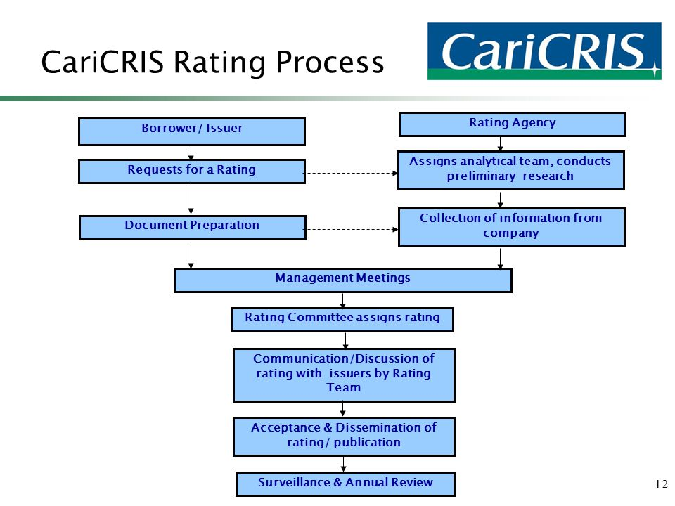 12 CariCRIS Rating Process Borrower/ Issuer Requests for a Rating Assigns analytical team, conducts preliminary research Document Preparation Collecti