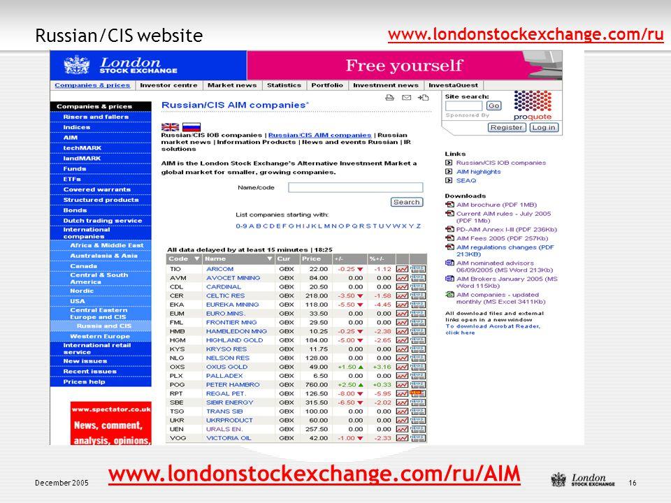 December 200516 Russian/CIS website www.londonstockexchange.com/ru www.londonstockexchange.com/ru/AIM