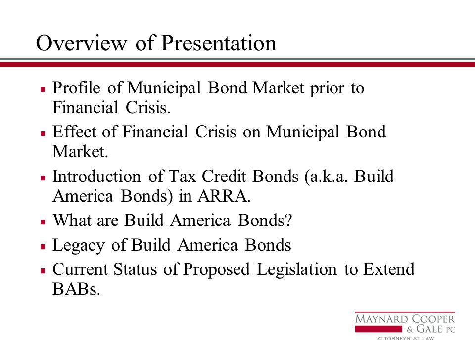 Overview of Presentation Profile of Municipal Bond Market prior to Financial Crisis.