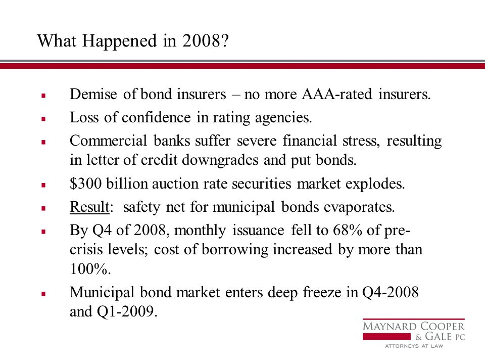 What Happened in 2008. Demise of bond insurers – no more AAA-rated insurers.