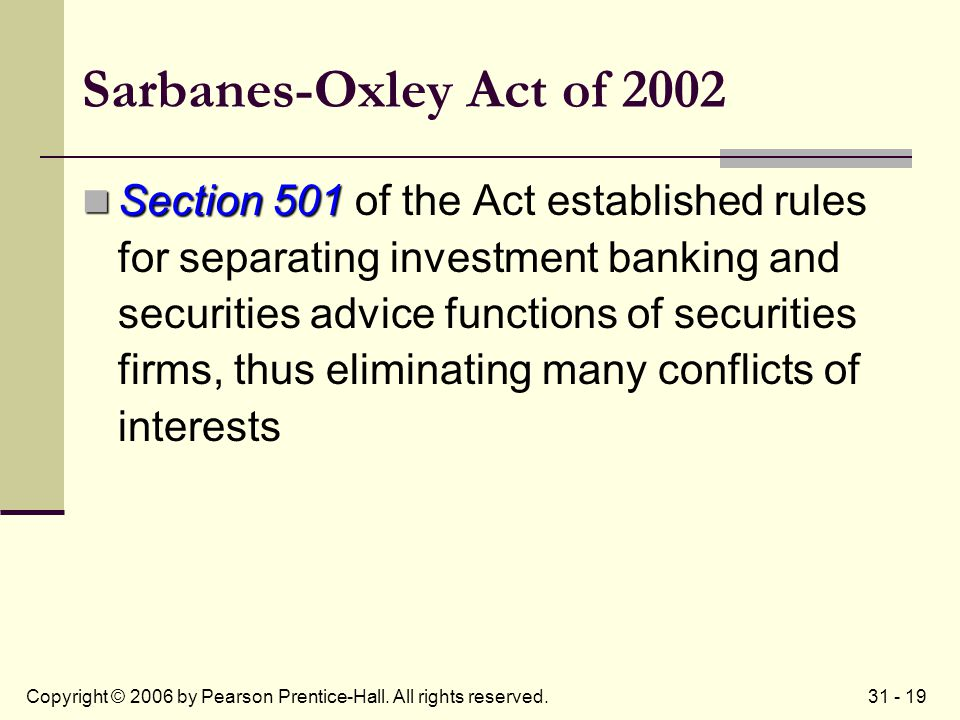 31 - 19Copyright © 2006 by Pearson Prentice-Hall. All rights reserved. Sarbanes-Oxley Act of 2002 Section 501 Section 501 of the Act established rules