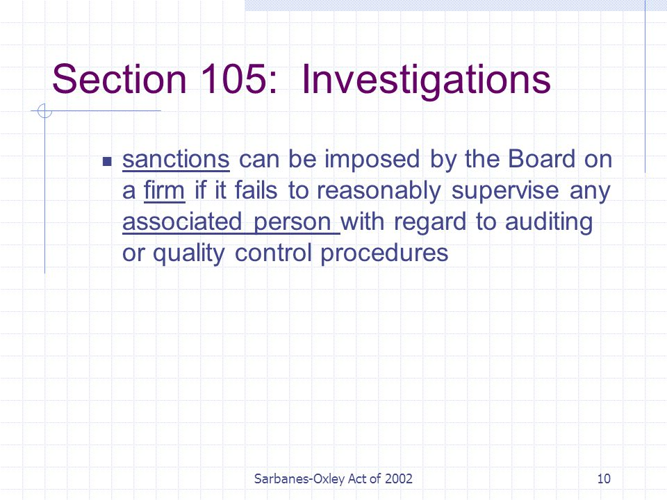 Sarbanes-Oxley Act of Section 105: Investigations sanctions can be imposed by the Board on a firm if it fails to reasonably supervise any associated person with regard to auditing or quality control procedures