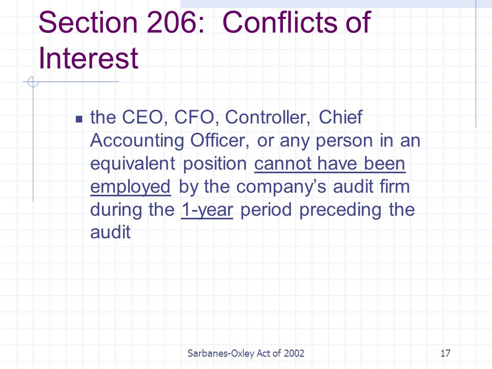 Sarbanes-Oxley Act of Section 206: Conflicts of Interest the CEO, CFO, Controller, Chief Accounting Officer, or any person in an equivalent position cannot have been employed by the company's audit firm during the 1-year period preceding the audit