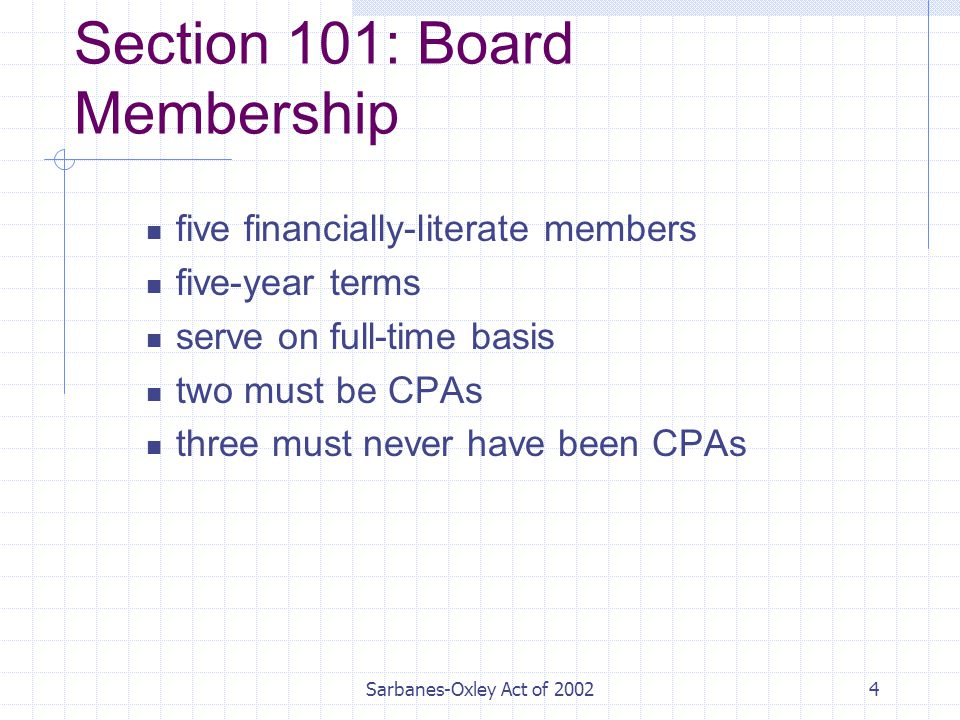 Sarbanes-Oxley Act of Section 101: Board Membership five financially-literate members five-year terms serve on full-time basis two must be CPAs three must never have been CPAs