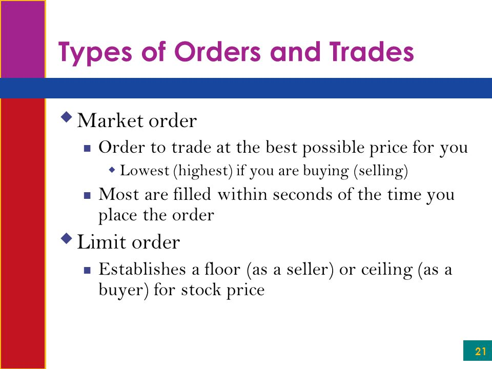 21 Types of Orders and Trades  Market order Order to trade at the best possible price for you  Lowest (highest) if you are buying (selling) Most are filled within seconds of the time you place the order  Limit order Establishes a floor (as a seller) or ceiling (as a buyer) for stock price