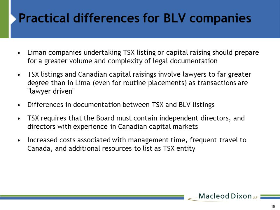 20 Comparison of Continuous Obligations for Maintaining Listing on TSX/TSX-V vs.