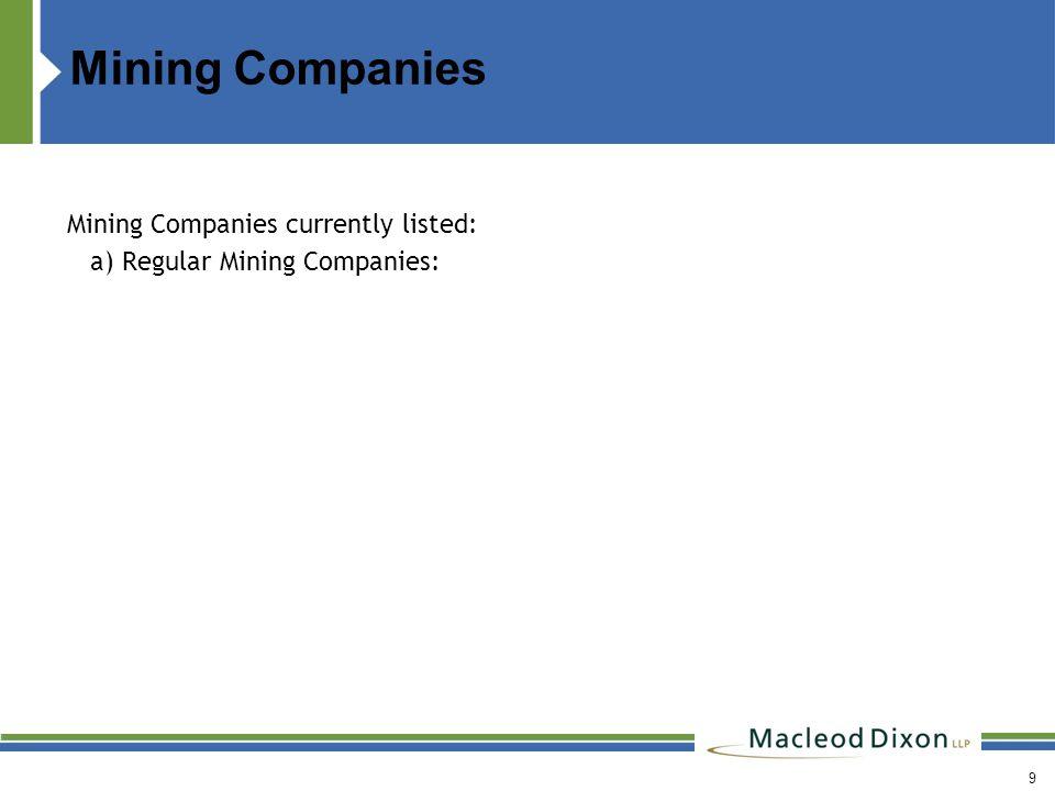 Mining Companies Mining Companies currently listed: a) Regular Mining Companies: 9