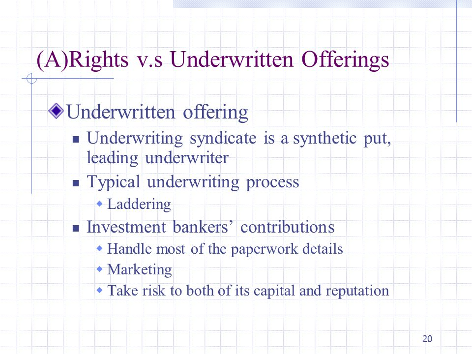 20 (A)Rights v.s Underwritten Offerings Underwritten offering Underwriting syndicate is a synthetic put, leading underwriter Typical underwriting process  Laddering Investment bankers' contributions  Handle most of the paperwork details  Marketing  Take risk to both of its capital and reputation