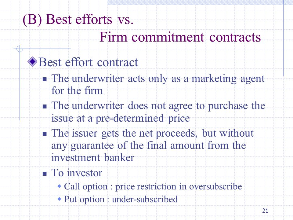 21 (B) Best efforts vs. Firm commitment contracts Best effort contract The underwriter acts only as a marketing agent for the firm The underwriter doe