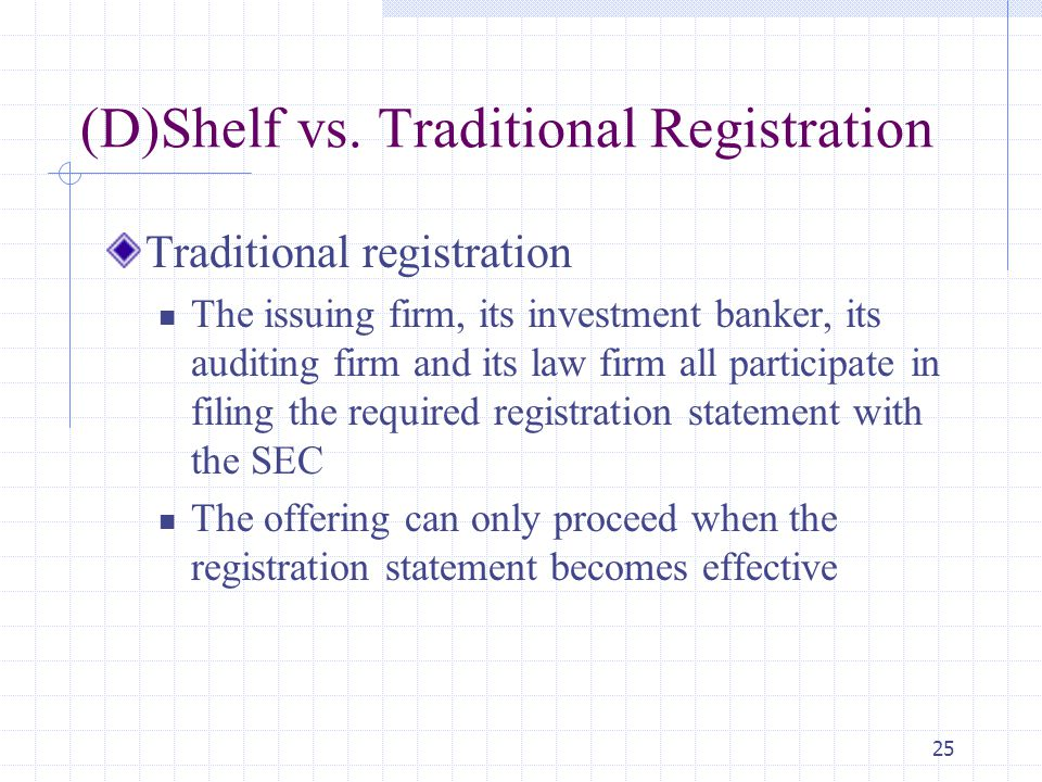 25 (D)Shelf vs. Traditional Registration Traditional registration The issuing firm, its investment banker, its auditing firm and its law firm all part