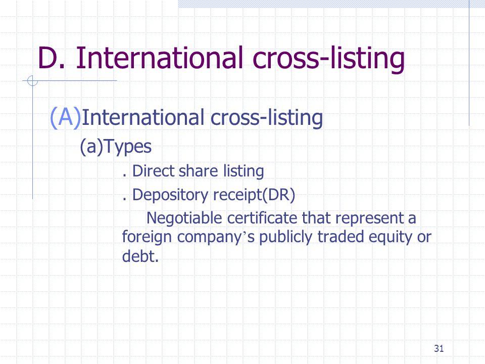 31 D. International cross-listing (A) International cross-listing (a)Types. Direct share listing. Depository receipt(DR) Negotiable certificate that r