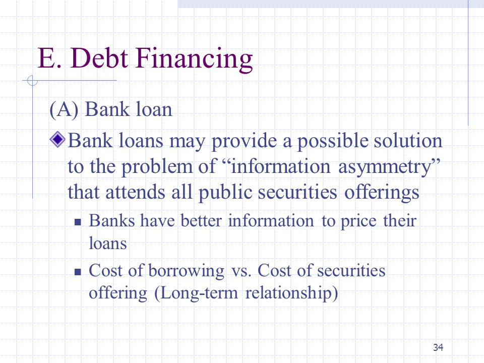 """34 E. Debt Financing (A) Bank loan Bank loans may provide a possible solution to the problem of """"information asymmetry"""" that attends all public securi"""